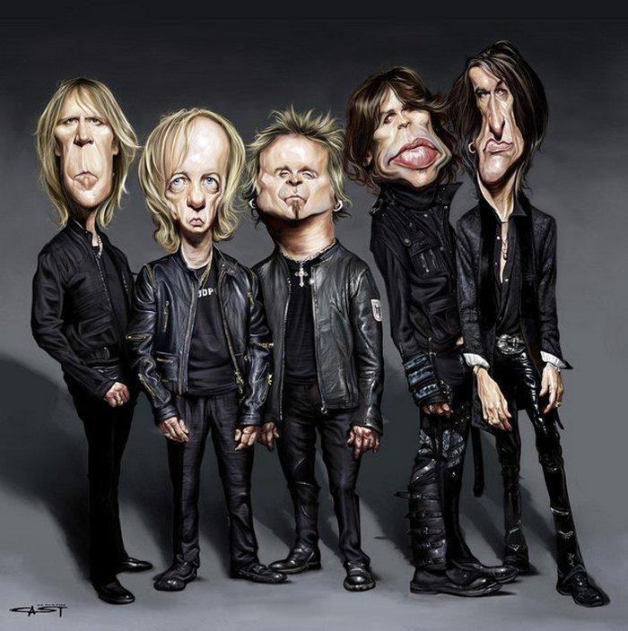 Карикатуры на рок исполнителей от Себастьян ролях. (3)