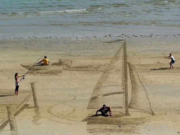 Креатив, 3D-рисунки на песке (1)