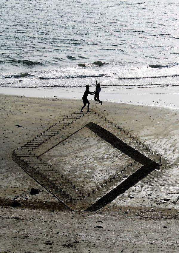 Креатив, 3D-рисунки на песке (9)