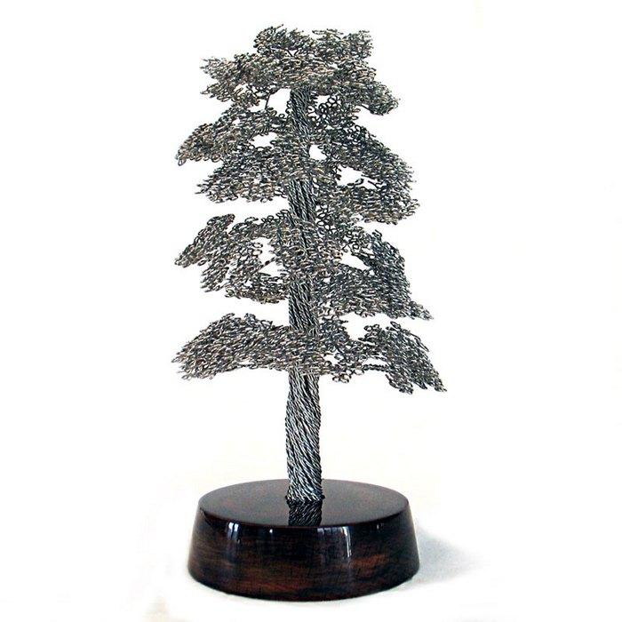 скульптуры деревьев из проволоки, креатив, необычное, бонсаи (1)