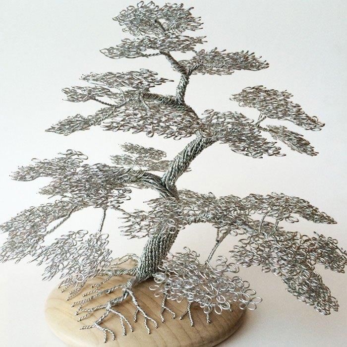 скульптуры деревьев из проволоки, креатив, необычное, бонсаи (10)