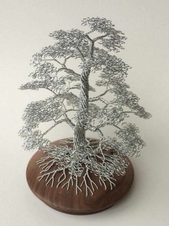 скульптуры деревьев из проволоки, креатив, необычное, бонсаи (9)