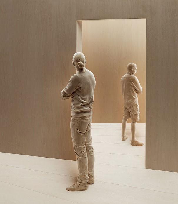 креатив, необычное, скульптуры из дерева (7)