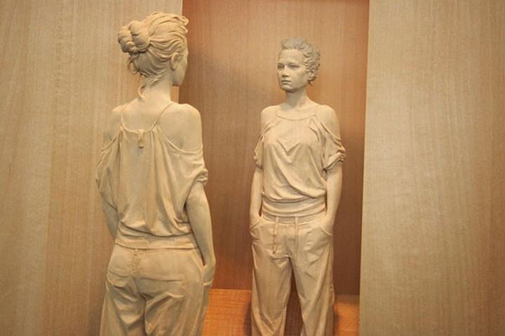 креатив, необычное, скульптуры из дерева (6)