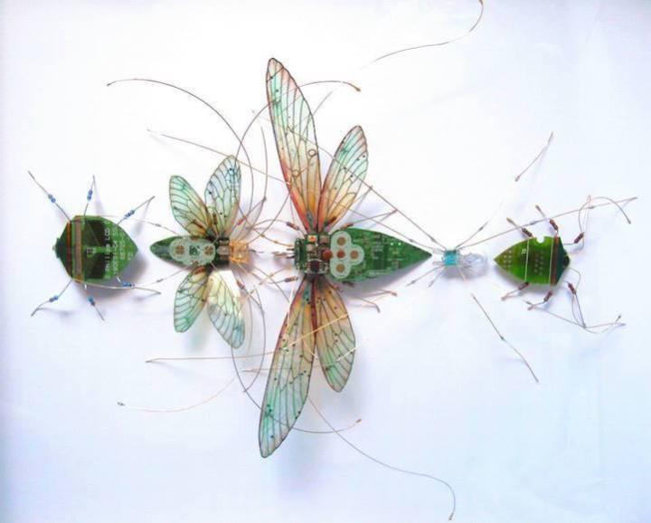 креатив, необычное, скульптуры из печатных плат (1)