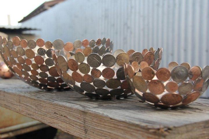креатив, необычное, скульптуры из старых ключей и монет (11)