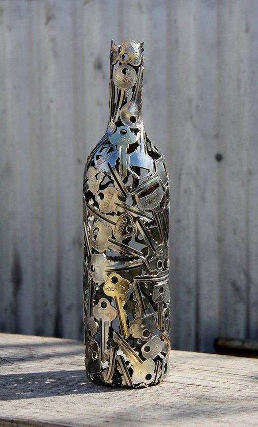 креатив, необычное, скульптуры из старых ключей и монет (10)