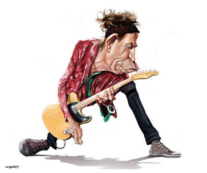 Карикатуры на рок исполнителей от Себастьян ролях. (12)