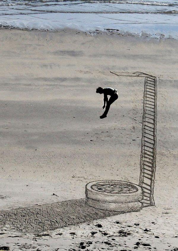 Креатив, 3D-рисунки на песке (7)