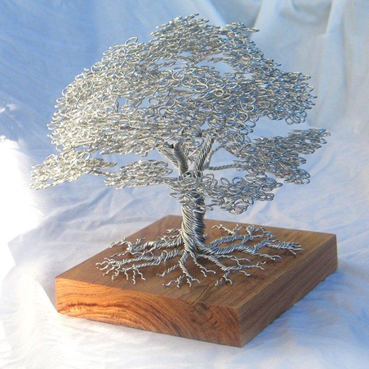 скульптуры деревьев из проволоки, креатив, необычное, бонсаи (3)