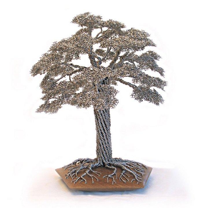 скульптуры деревьев из проволоки, креатив, необычное, бонсаи (2)