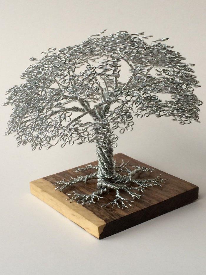 скульптуры деревьев из проволоки, креатив, необычное, бонсаи (7)
