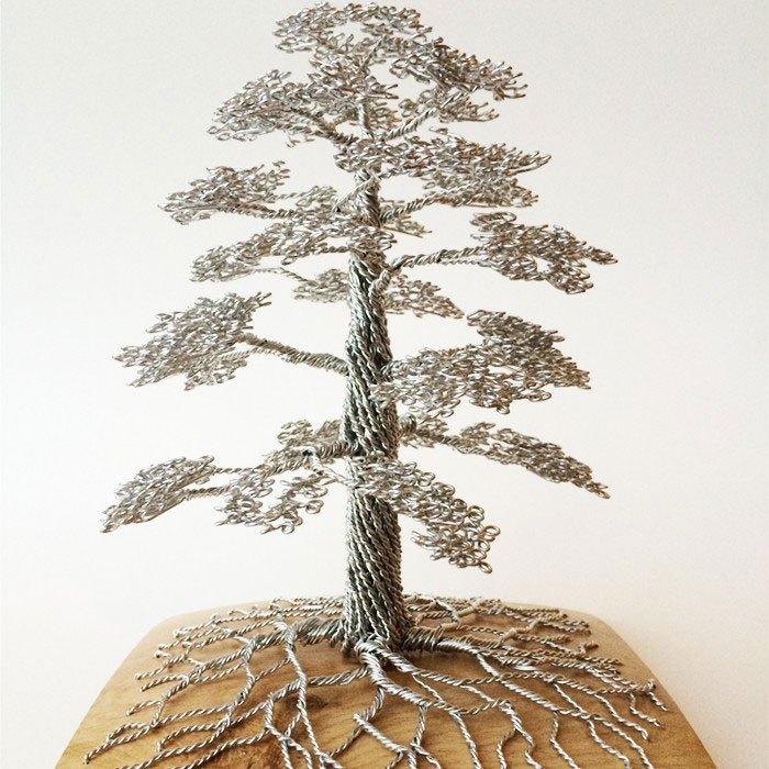 скульптуры деревьев из проволоки, креатив, необычное, бонсаи (6)