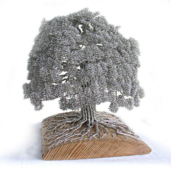 скульптуры деревьев из проволоки, креатив, необычное, бонсаи (5)