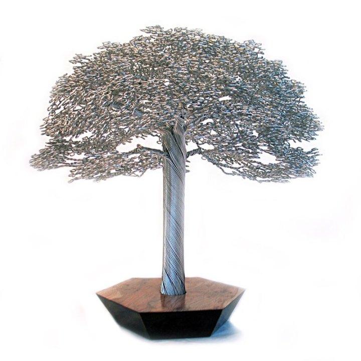 скульптуры деревьев из проволоки, креатив, необычное, бонсаи (4)