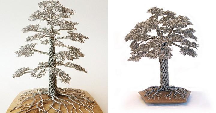 скульптуры деревьев из проволоки, креатив, необычное, бонсаи (13)