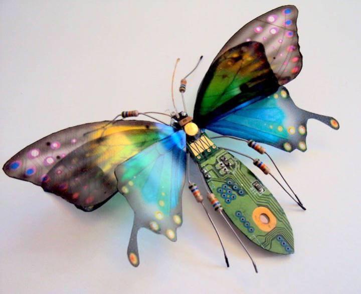креатив, необычное, скульптуры из печатных плат (4)