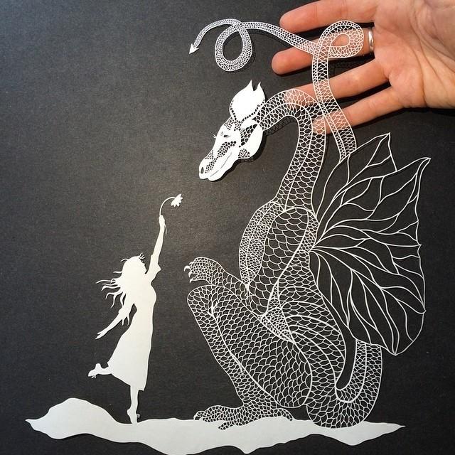 креатив, необычное, картины вырезанные из бумаги (10)