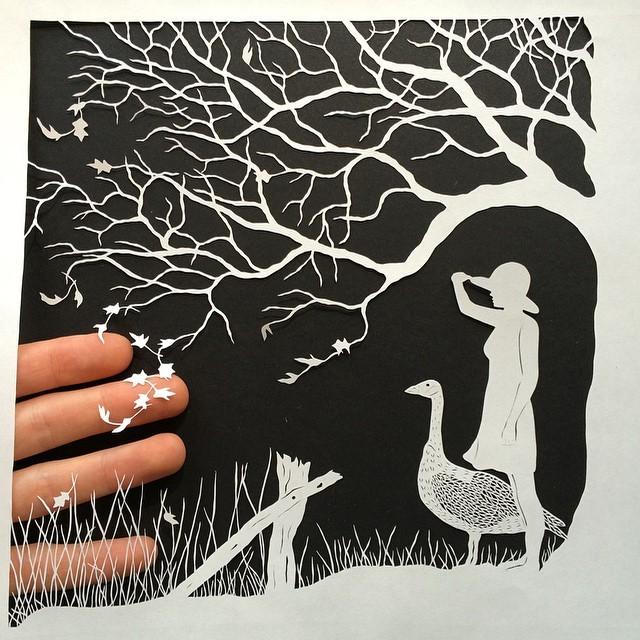 креатив, необычное, картины вырезанные из бумаги (9)