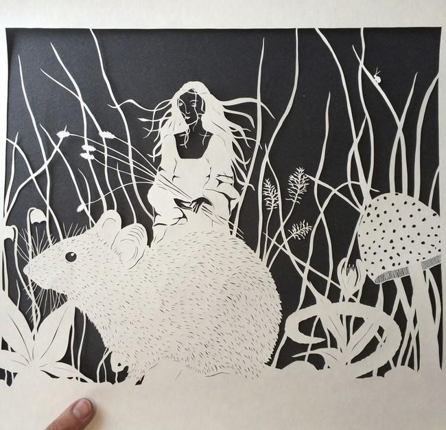 креатив, необычное, картины вырезанные из бумаги (3)