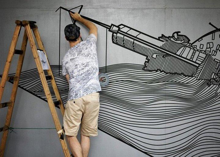 Скотчевый стрит-арт, креатив, необычное (11)