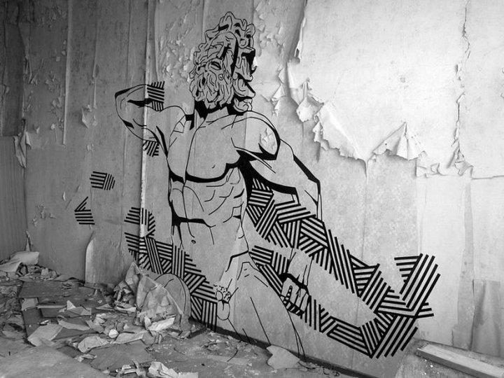 Скотчевый стрит-арт, креатив, необычное (2)