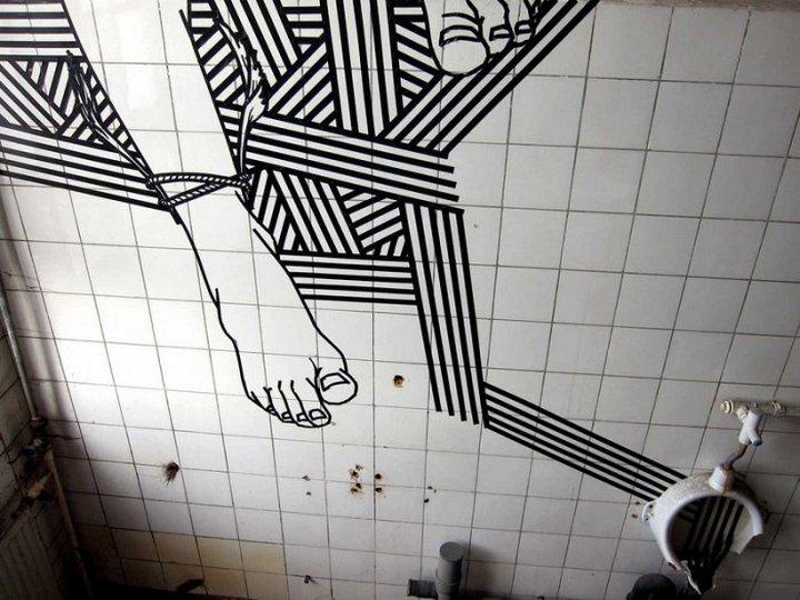 Скотчевый стрит-арт, креатив, необычное (3)